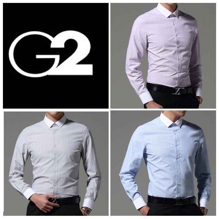 G mens dress 2000 long sleeve professional shirt slim waist business leisure stripe vertical grain spring and autumn professional business