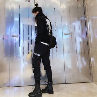春夏新款工装裤女高腰显瘦2021年新款束脚帅气小个子黑色机能风