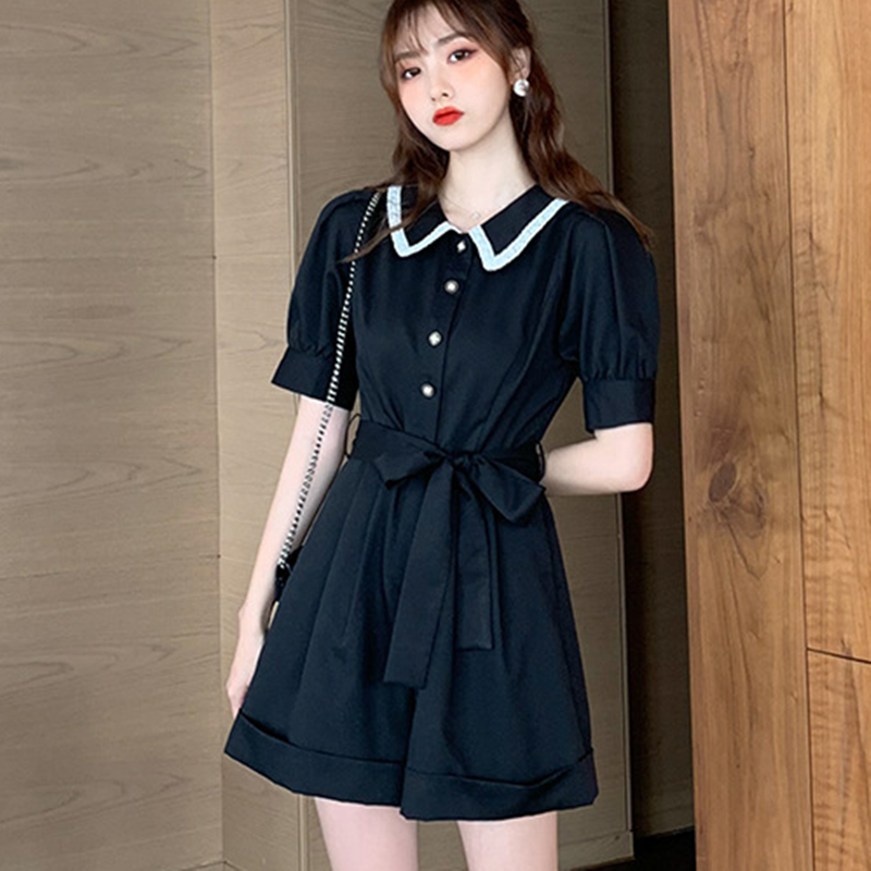 Hong Kong Style overalls womens new summer lace stitched bubble sleeves show thin one piece wide leg shorts suit trend