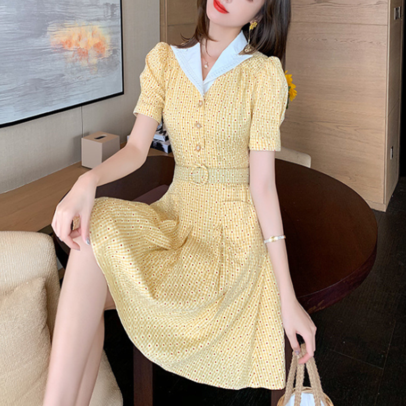 Shirt sleeve print dress summer 2020 new suit collar slim fit A-line skirt floral skirt women