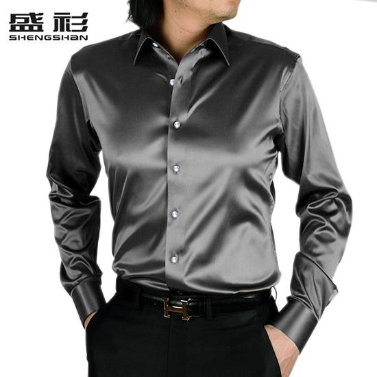 Grey imitation Korean silk real silk shirt long sleeve mens bright face emcee performance shirt summer