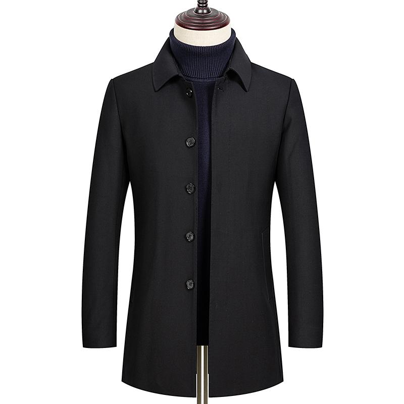 春季男装羊毛大衣男中长款男士休闲翻领毛呢外套爸爸装L2022-P210