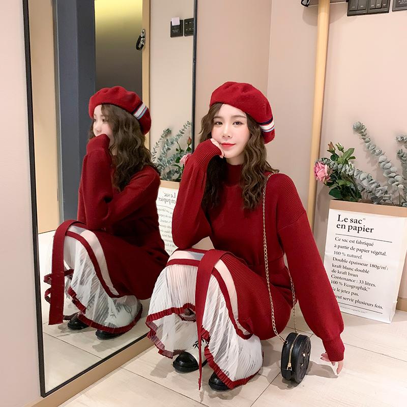 法式显瘦红色连衣裙女秋冬2020新款新年长裙子小香风拜年裙小个子