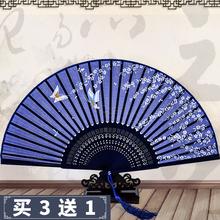 扇子折扇中国风古典绫绢女扇女式古风复古舞蹈礼品演出夏季和风扇