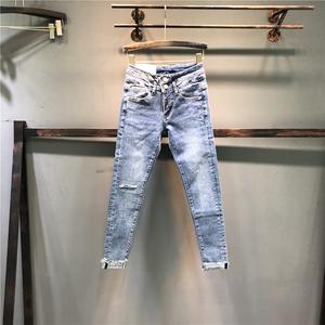 欧洲站2021秋季新款个性蓝色弹力破洞牛仔裤女修身显瘦小