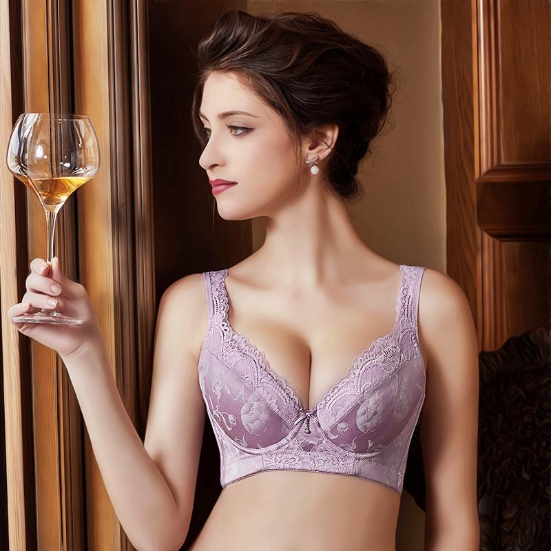 美容院无海绵薄款文胸舒适软钢圈塑形上托聚拢收副乳调整型内衣女