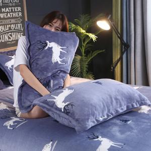 枕头套珊瑚绒枕套一对装48x74cm成人卡通学生枕头皮法兰绒枕芯套
