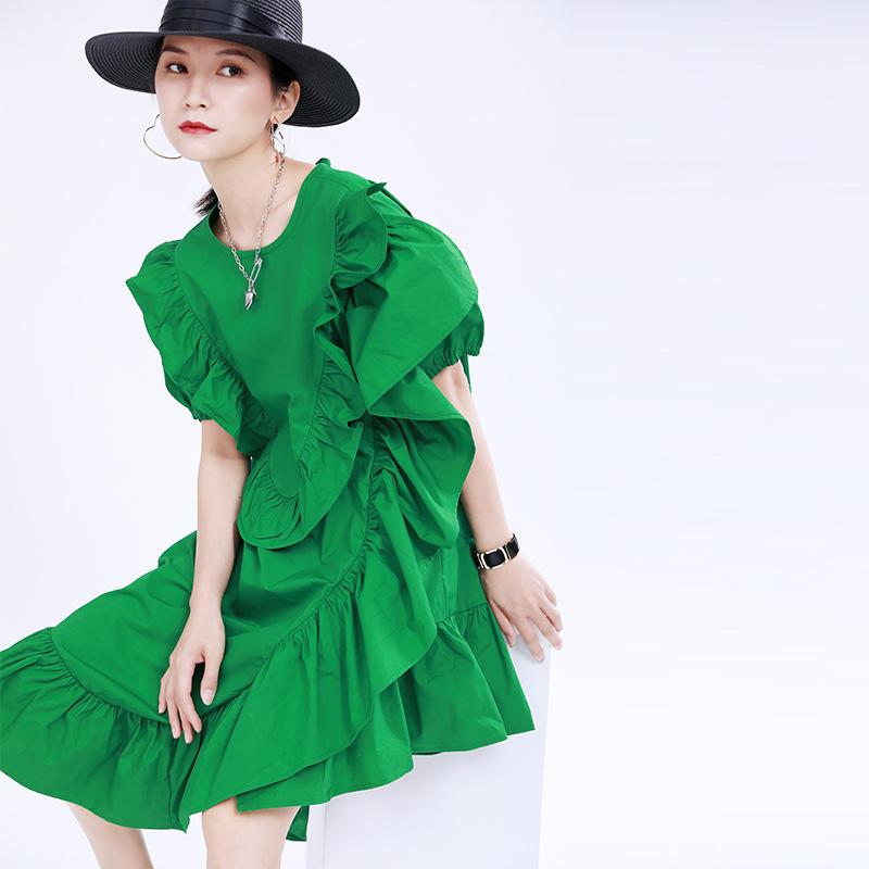2021夏季糖果色连衣裙立体木耳边装饰纯色短袖中长荷叶边不规则裙