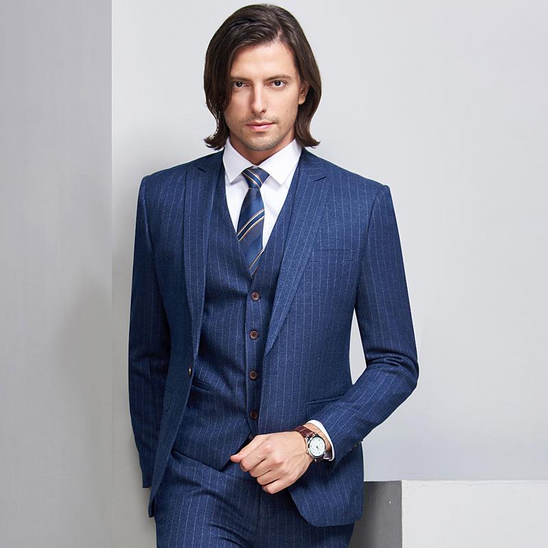 Autumn and winter suit mens 100-220 kg large stripe three piece blue bridegroom wedding studio suit
