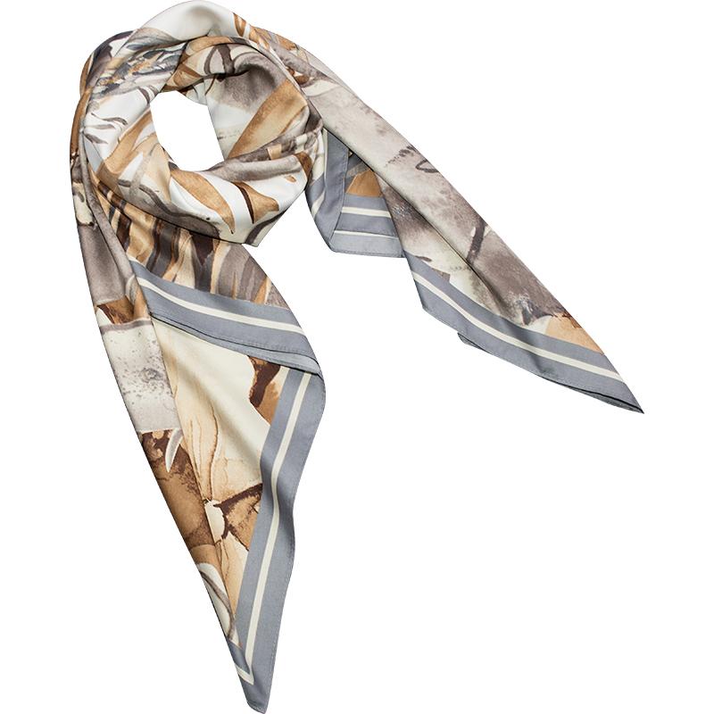 「知雾自制」春夏季大方巾丝巾正方形超大两用披肩女韩版防晒围巾