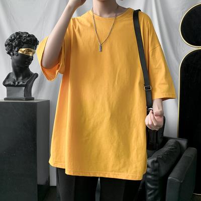 2020港风全棉夏季新款圆领短袖T恤纯色韩版圆领半袖A139-136-P16