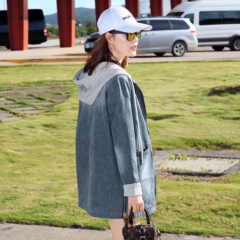 Medium and long hooded splicing denim womens spring 2021 new Korean loose long sleeve casual denim jacket trend