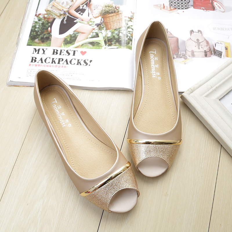 Summer open toe single shoes womens flat bottom light mouth gold comfortable soft sole flat heel large fish mouth shoes 41-43 fat feet wide