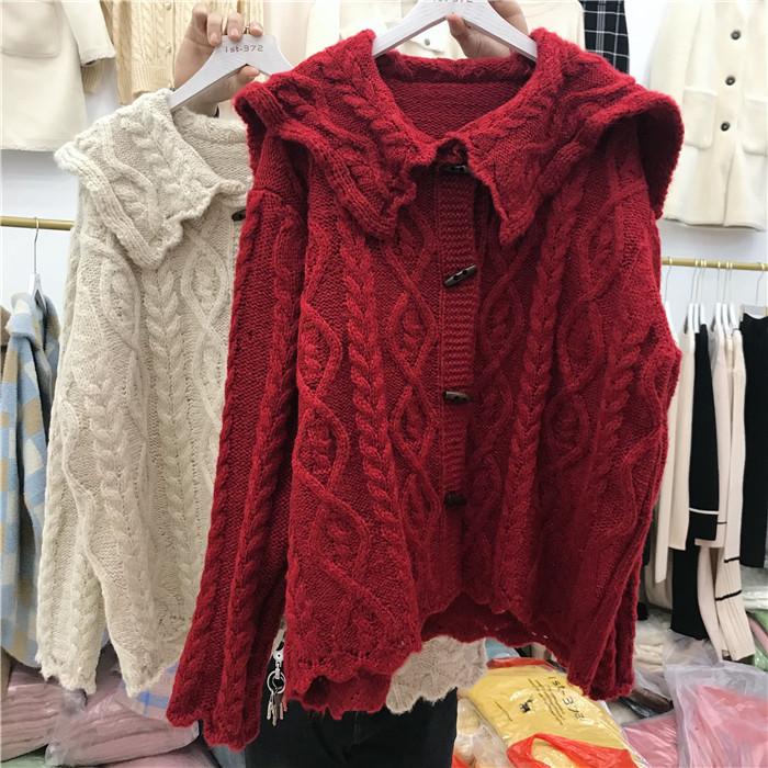 韩国春季新款大翻领牛角扣粗麻花羊毛针织开衫时尚加厚毛衣外套女