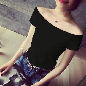 露肩一字肩上衣纯棉韩版黑色紧身性感修身锁骨一字领t恤女短袖夏