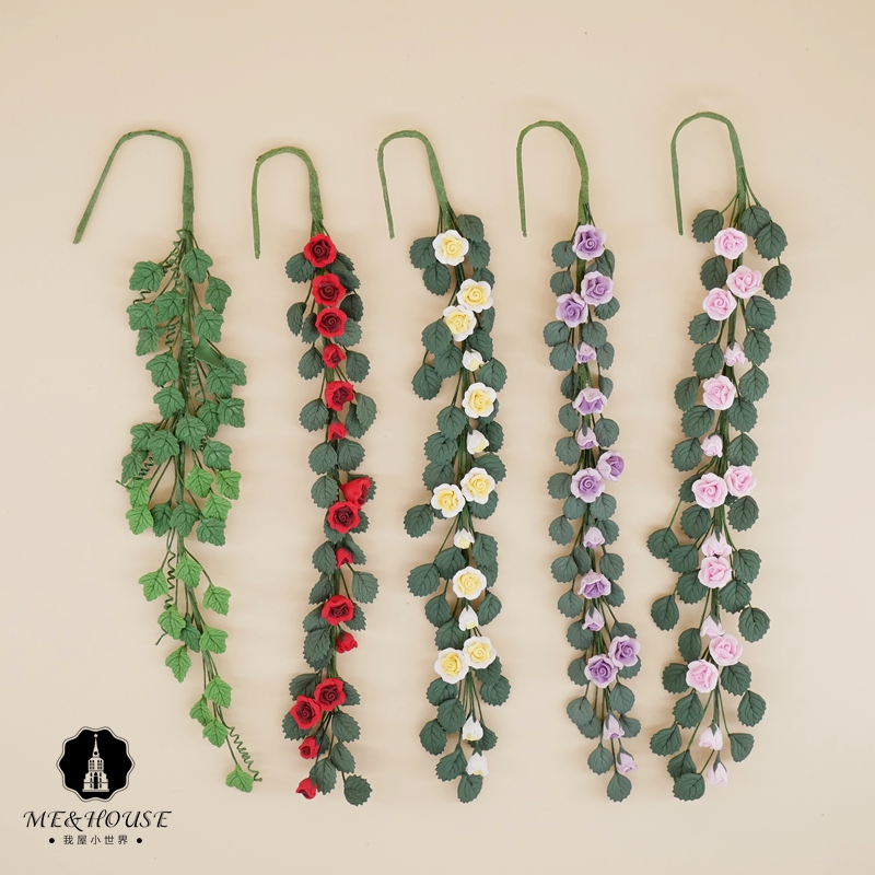 12 points BJD Baby House Miniature flowers, grass and rattan miniature simulation clay Rose Rose rose green leaves flower cluster model
