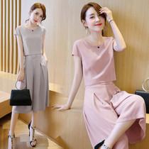 大码20-30-40岁夏装中年韩版女装气质妈妈假两件套装雪纺连衣裙潮