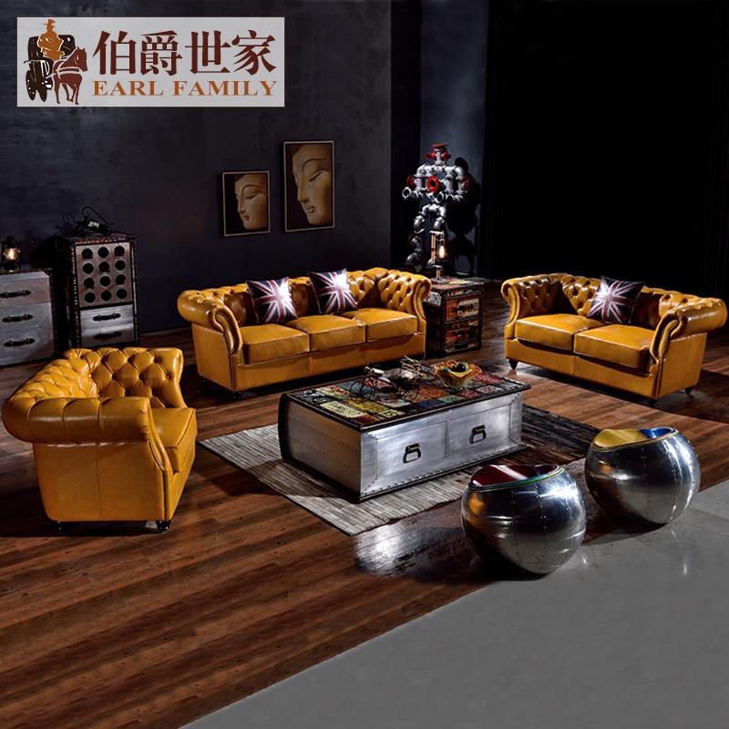 American pull buckle leather art first layer oil wax leather sofa living room 123U combination orange three person orange sofa