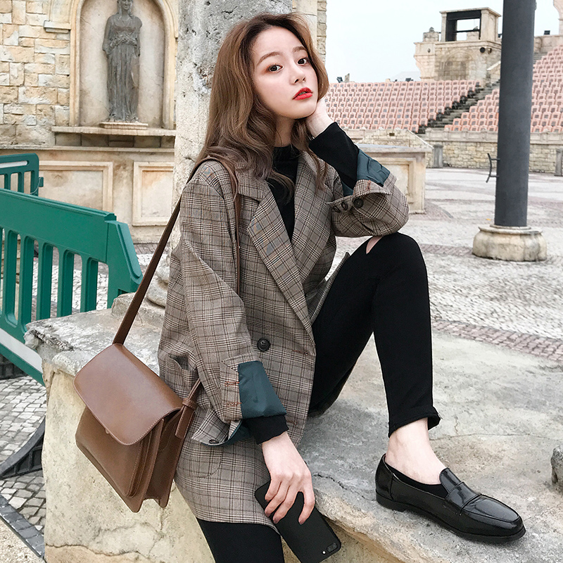 Net red plaid suit jacket female spring and autumn design sense niche popular style Korean small man fried street suit female jacket