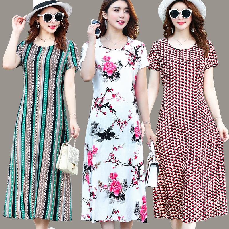 有赠品妈妈装棉绸短袖大码女装夏季连衣裙