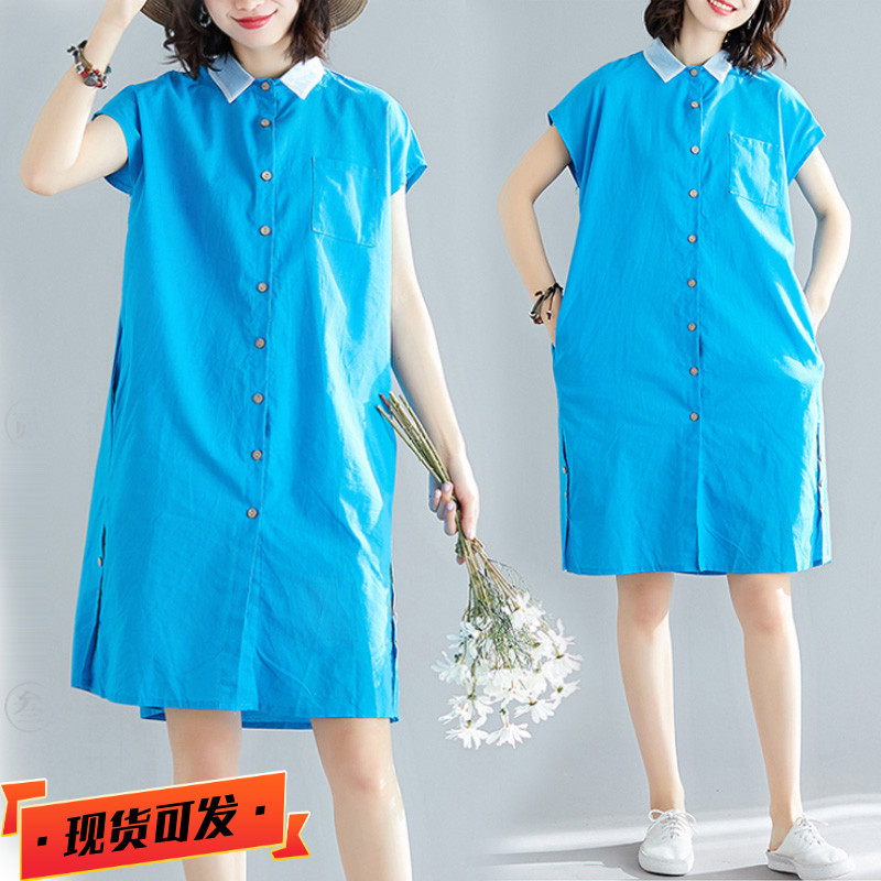 Fat sister covered belly shows thin big medium length dress foreign style loose age reducing short sleeve shirt skirt summer 2020