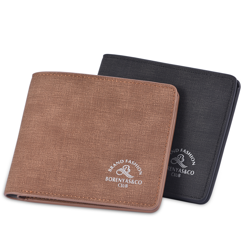 Wallet mens short fashion retro soft leather clip thin leisure multi Card Student Wallet trend