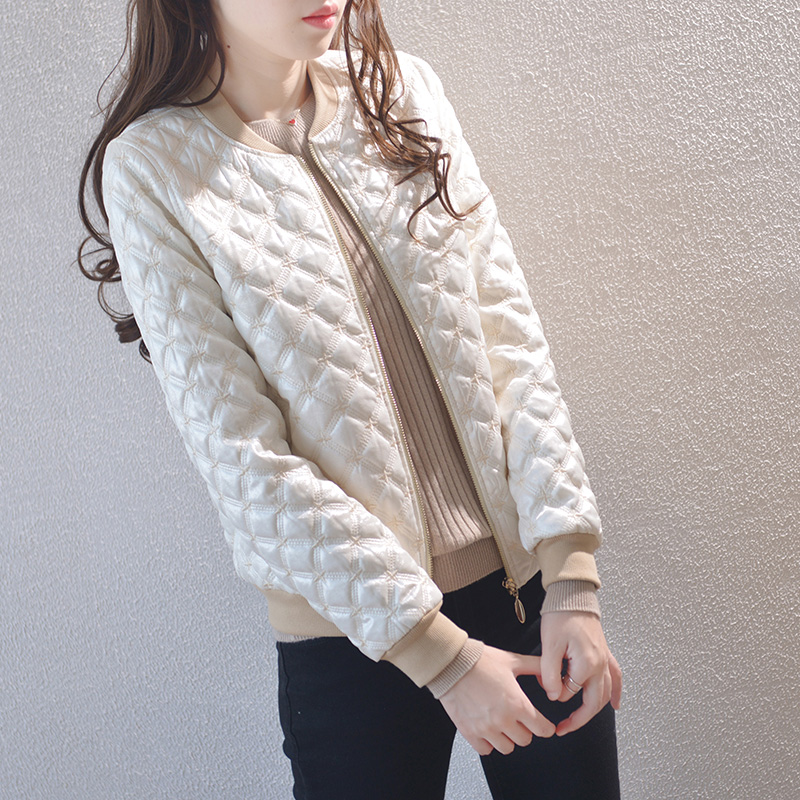 Plaid short jacket ladies autumn and winter thick cotton quilted baseball uniform small white casual jacket all-match tide
