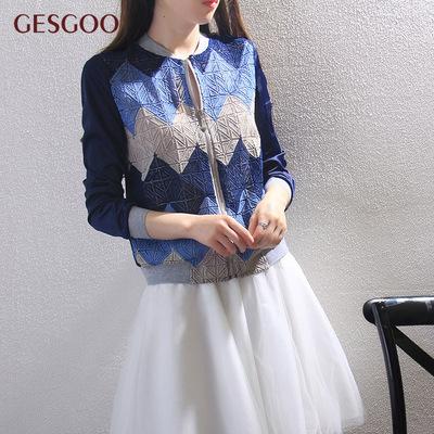 春秋短款外套女流行新款潮棒球服拼接蕾丝休闲夹克衫时尚薄款