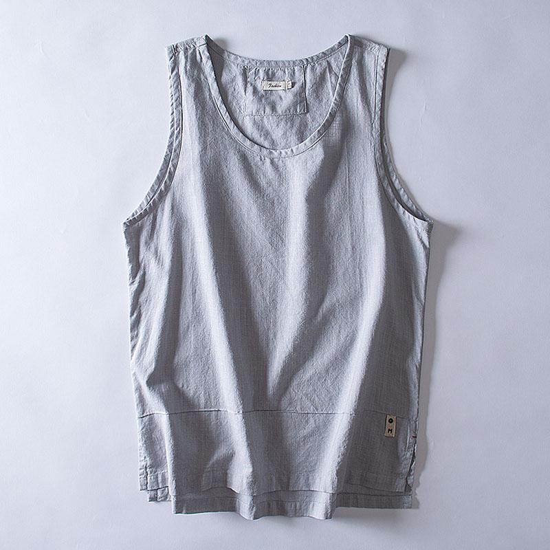 夏季日系棉麻背心男凉薄透气宽松大码砍袖跨栏汗衫U领无袖T恤坎肩