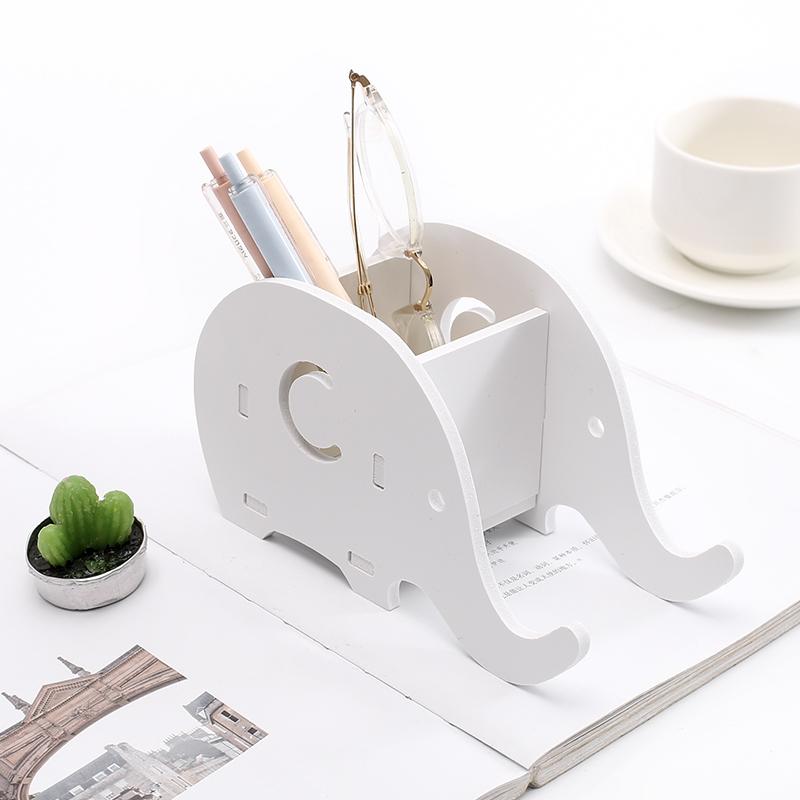 創意簡約大象手機支架多功能筆筒手機座桌面木質收納盒辦公文具