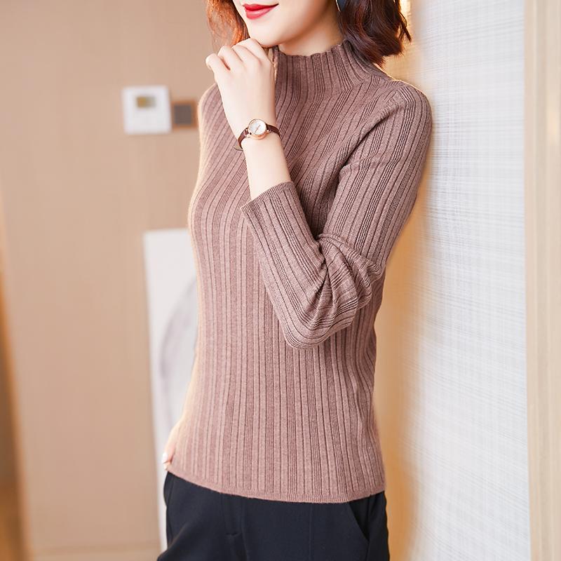 半高领毛衣女2020春秋新款修身显瘦长袖上衣黑色内搭打底衫针织衫