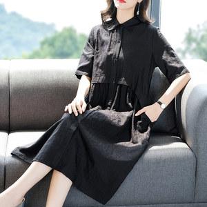 阿吉多大码宽松短袖黑色裙子女2019夏季新款单排扣拼接衬衫连衣裙