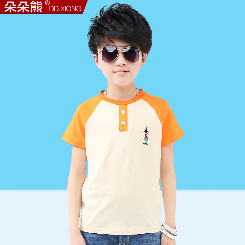 朵朵熊 男童夏裝t恤純棉 兒童中大童短袖體恤衫半袖上衣