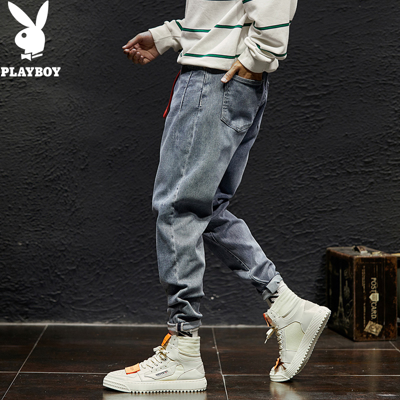 Playboy spring and autumn jeans mens slim Korean fashion brand pants youth loose fashion mens Harun pants mens wear