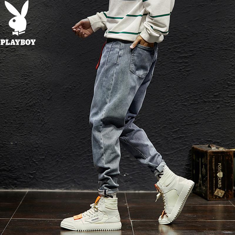Playboy spring and autumn jeans men s slim fit Korean fashion pants youth loose fashion men s Haren pants men s wear