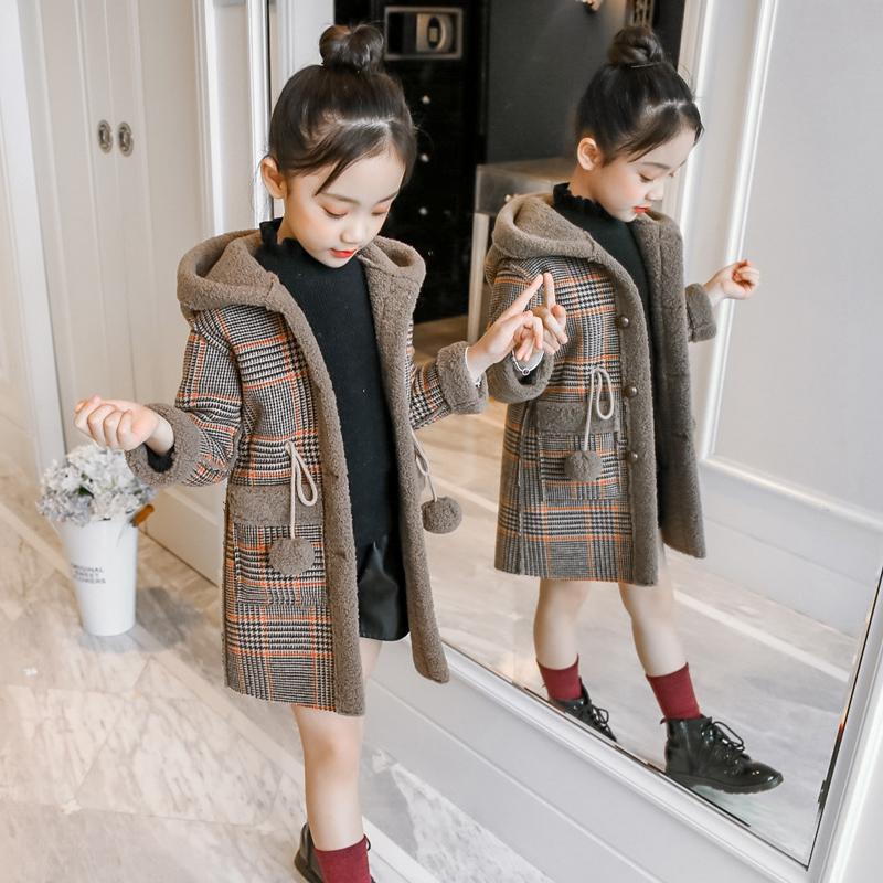 女童秋冬儿童格子外套大衣童装加厚2019新款中长款中大童韩版洋气