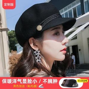 帽子女秋冬百搭英伦复古羊毛女帽八角贝雷帽韩版女士时尚潮鸭舌帽