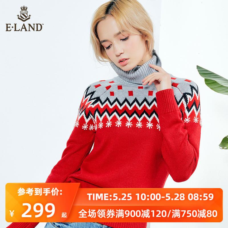 ELAND韩版圣诞撞色几何图形个性雪花高领针织毛衣针织衫女图片