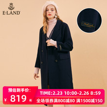 100% wool eland Korean chic double faced woolen overcoat women's medium long silhouette eejw84t04a