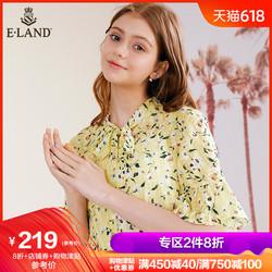 ELAND19夏季新款ins法式衬衫黄色海边度假碎花甜美仙女EEBW965Q4I