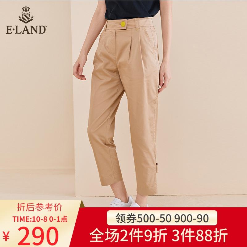 ELAND2019秋季新款直筒拉链长裤修饰腿型EETC937C2B需要用券