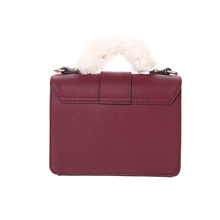 ELAND Autumn and Winter Plush Hand-held Decorative Metal Button Small Square Bag Single Shoulder Slant Bag Female EEAK7FT03A