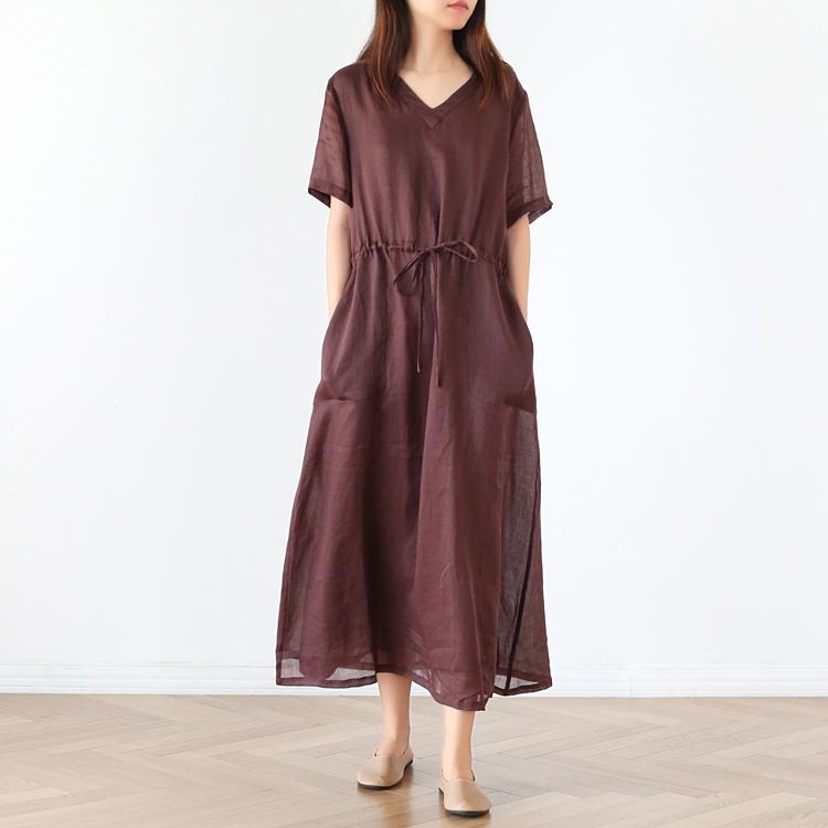 苎麻连衣裙女高端2020夏短袖抽绳收腰长裙薄款双层红棕色显瘦袍子