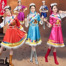 New Tibetan Dance Performance Costume Female Minority Costume Stage Costume Tibetan Performance Costume Adult Sleeve