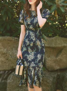 夏款小碎花连衣裙雪纺修身鱼尾裙轻熟风气质名媛收腰显瘦泡泡袖