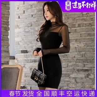 2019新款秋冬连衣裙黑色长袖性感女装短裙紧身修身收腰显瘦打底裙