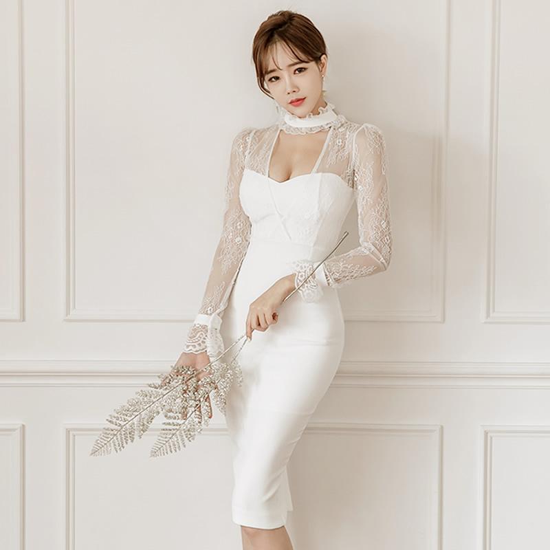 券后198.00元2019新款连衣裙长袖白色性感女装优雅修身包臀气质名媛礼服中长裙
