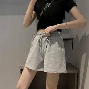 运动短裤女夏季薄款三分裤a字宽松纯棉外穿跑步休闲高腰灰色阔腿