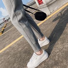 运动裤女2021新款宽松束脚春秋季灰色薄款纯棉加绒休闲小脚卫裤子