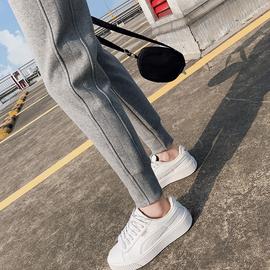 运动裤女2021新款宽松束脚春秋季灰色休闲女裤纯棉薄款外穿卫裤子